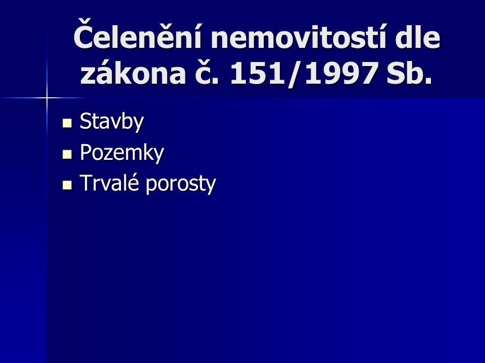 Čelenění nemovitostí dle zákona č. 151/1997 Sb.