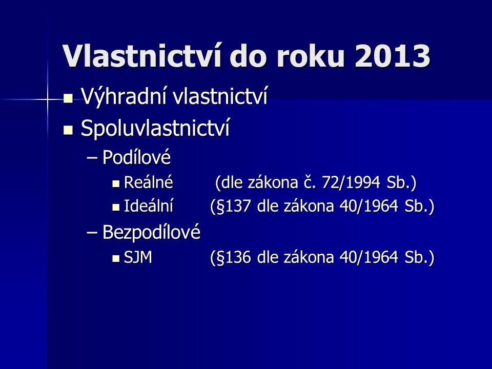 Vlastnictví do roku 2013 Výhradní vlastnictví Spoluvlastnictví