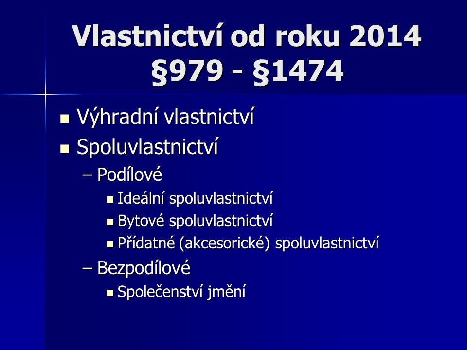 Vlastnictví od roku 2014 §979 - §1474