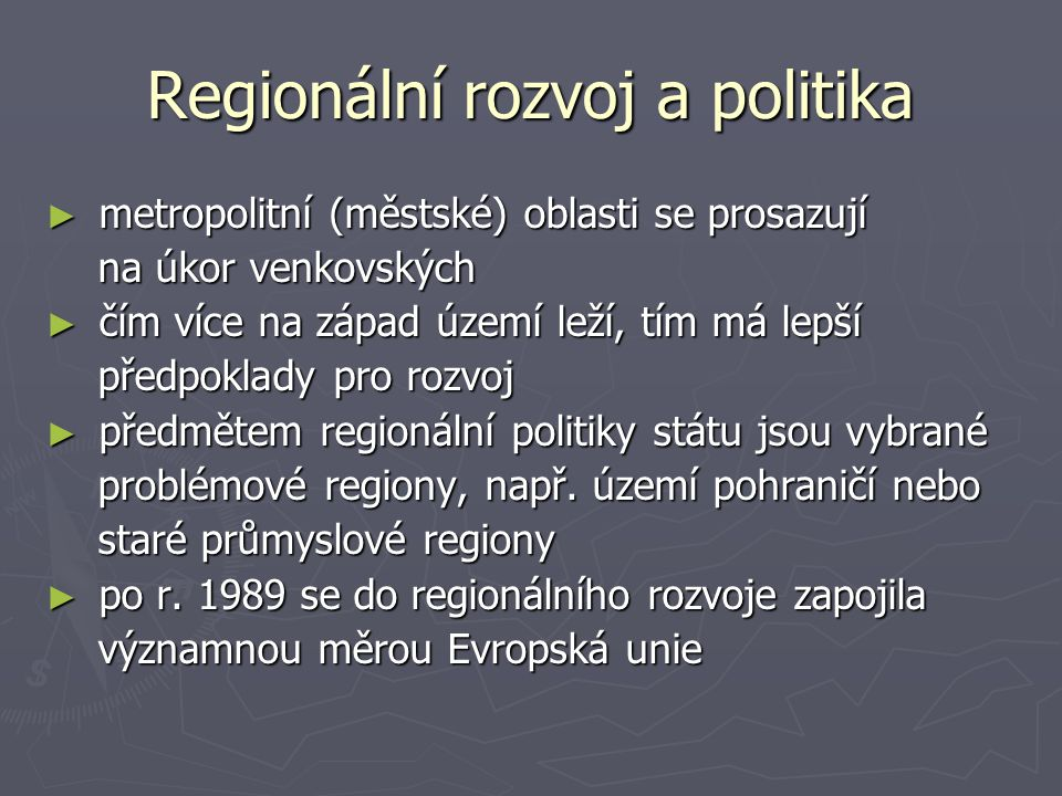 Regionální rozvoj a politika