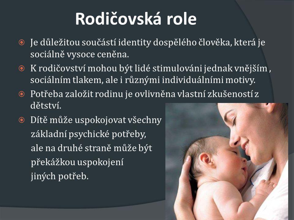 Rodičovská role Je důležitou součástí identity dospělého člověka, která je sociálně vysoce ceněna.