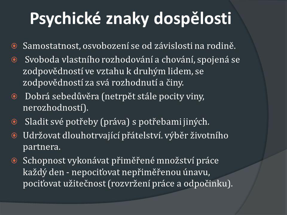 Psychické znaky dospělosti