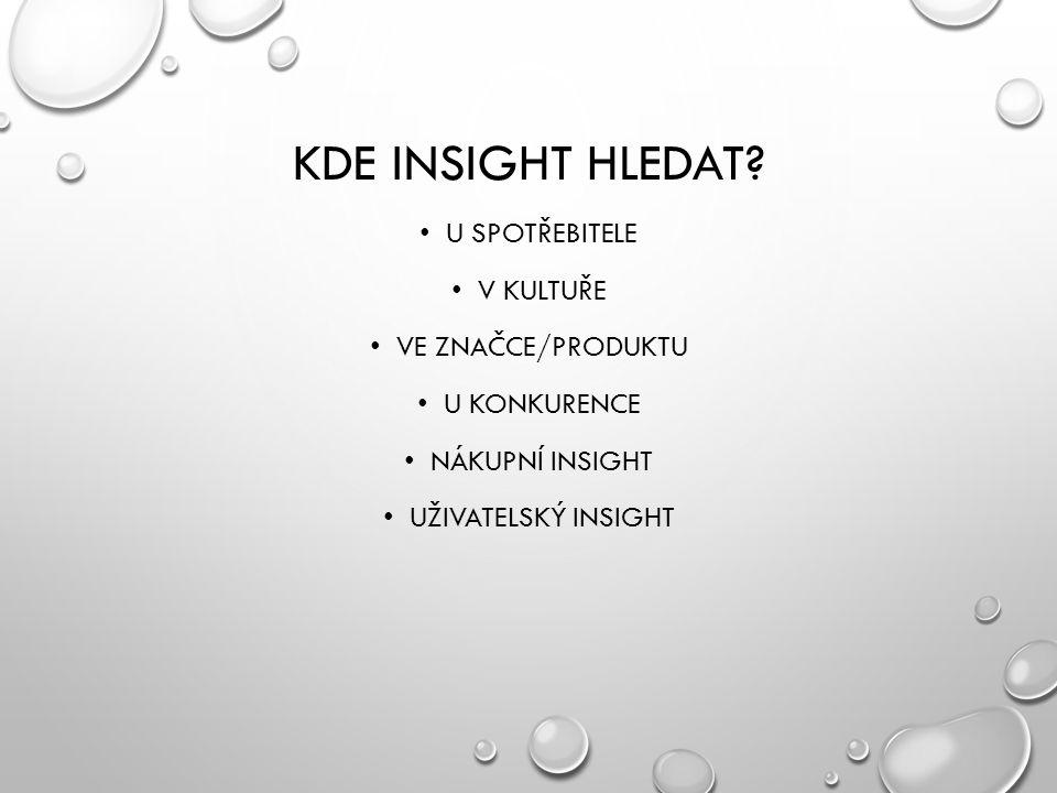 Kde insight hledat U spotřebitele V kultuře Ve značce/produktu