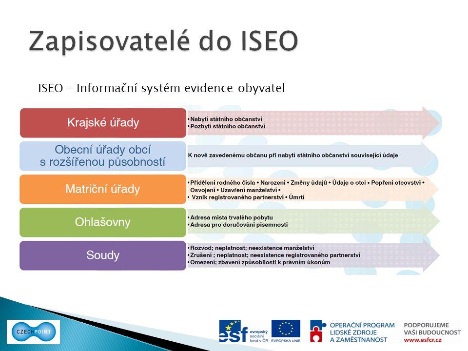 Zapisovatelé do ISEO ISEO – Informační systém evidence obyvatel