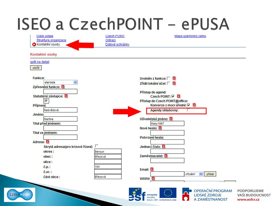ISEO a CzechPOINT - ePUSA