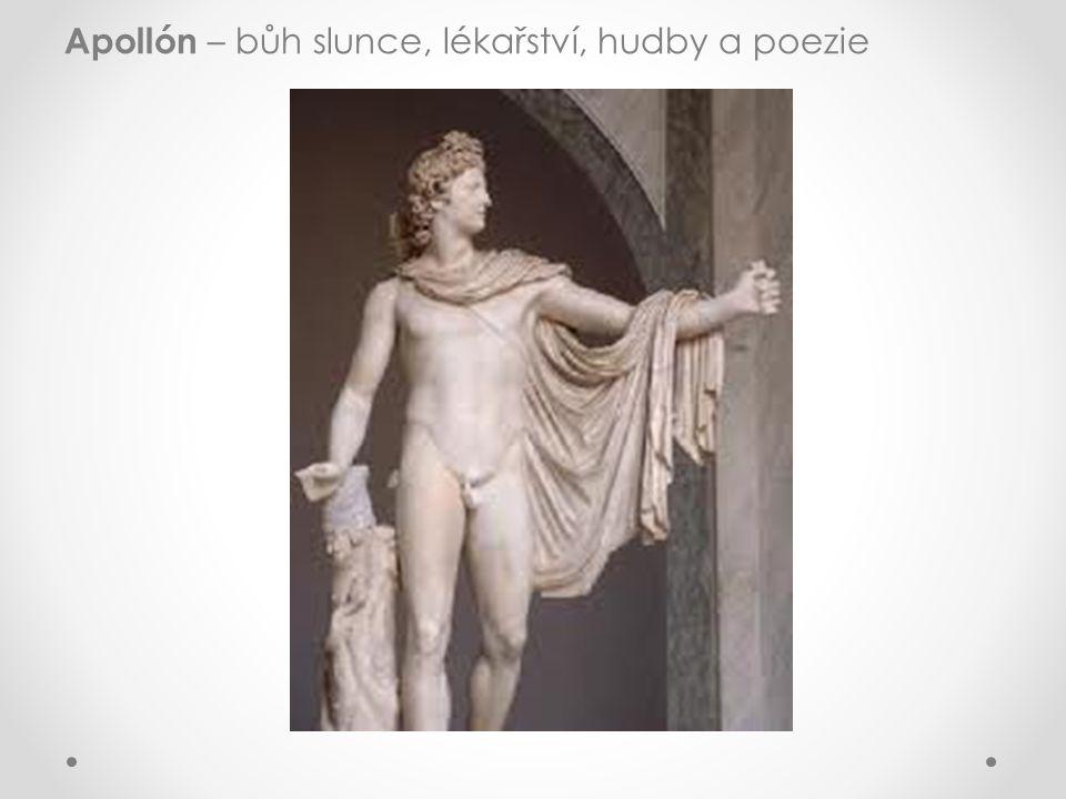 Apollón – bůh slunce, lékařství, hudby a poezie