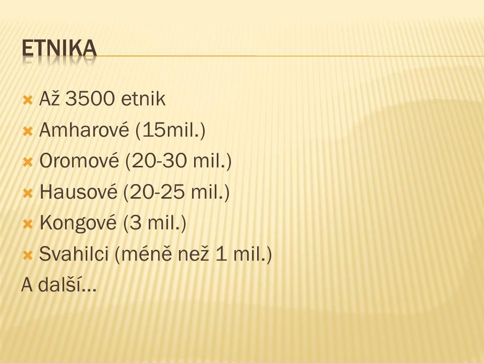 Etnika Až 3500 etnik Amharové (15mil.) Oromové (20-30 mil.)