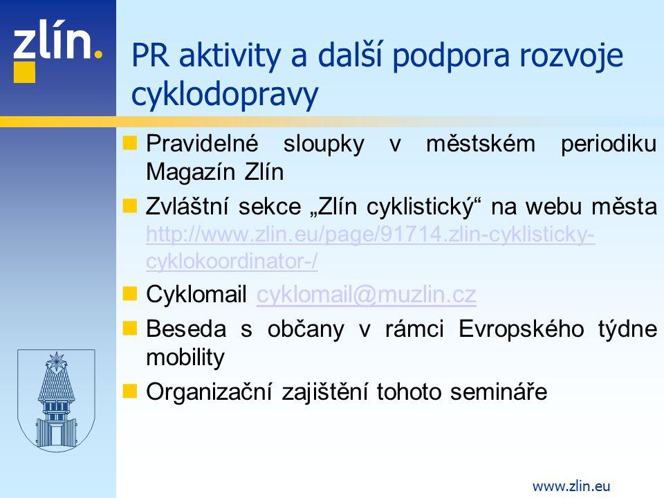 PR aktivity a další podpora rozvoje cyklodopravy