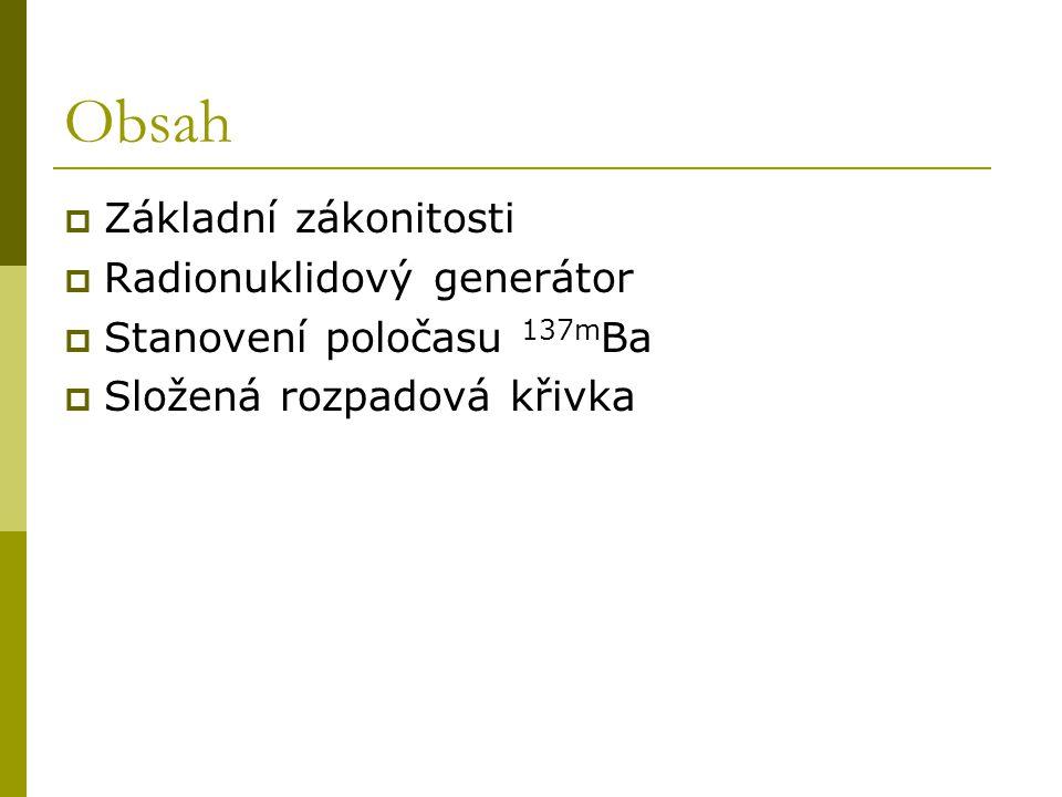 Obsah Základní zákonitosti Radionuklidový generátor