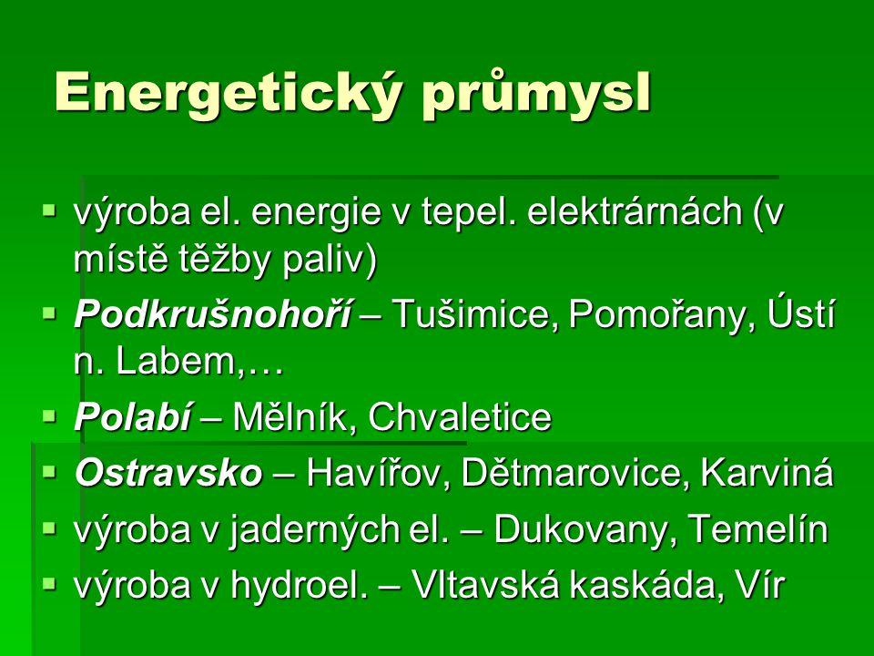Energetický průmysl výroba el. energie v tepel. elektrárnách (v místě těžby paliv) Podkrušnohoří – Tušimice, Pomořany, Ústí n. Labem,…
