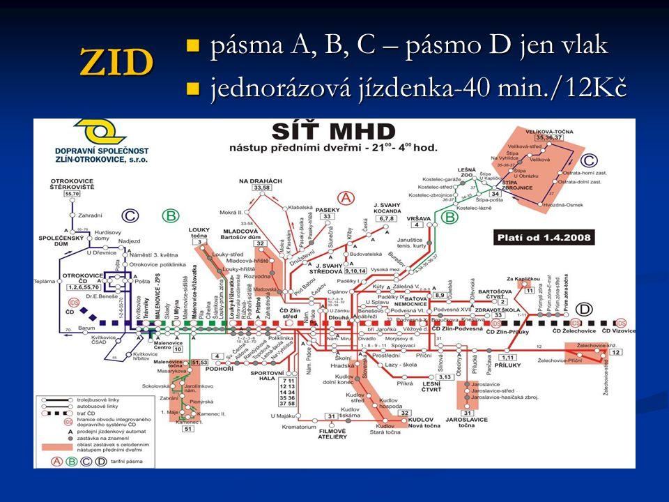 ZID pásma A, B, C – pásmo D jen vlak jednorázová jízdenka-40 min./12Kč