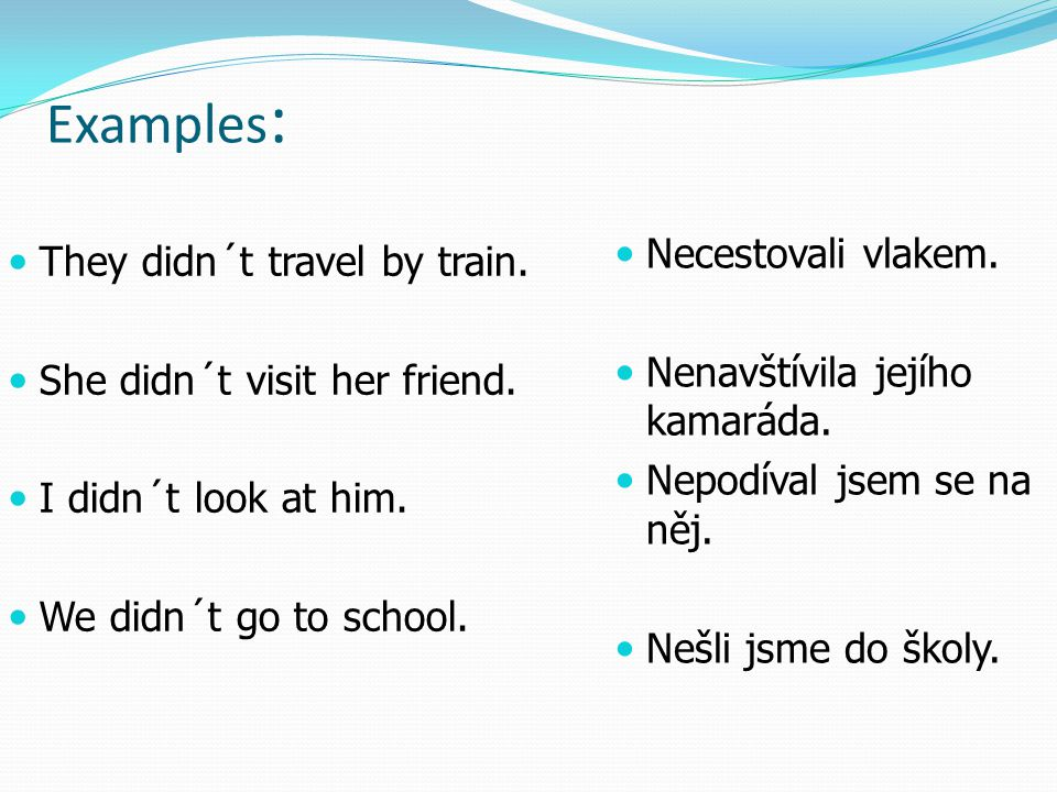 Examples: Necestovali vlakem. They didn´t travel by train.