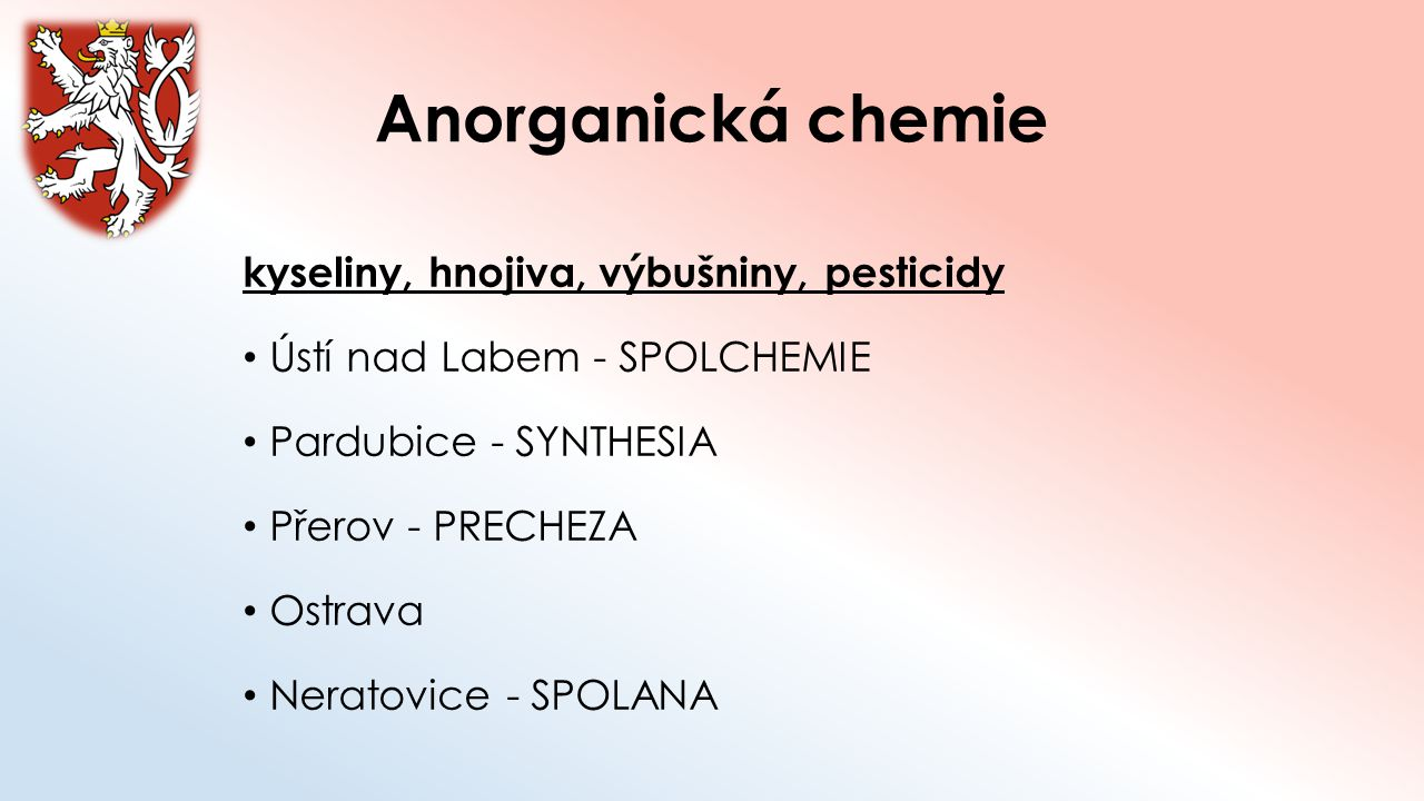 Anorganická chemie kyseliny, hnojiva, výbušniny, pesticidy