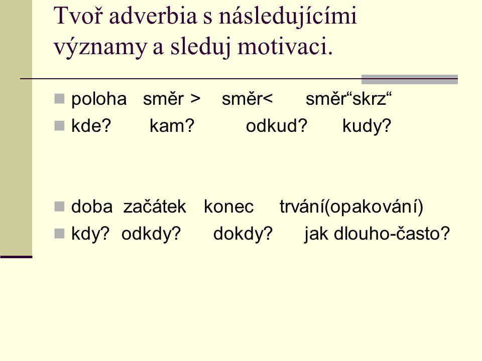 Tvoř adverbia s následujícími významy a sleduj motivaci.