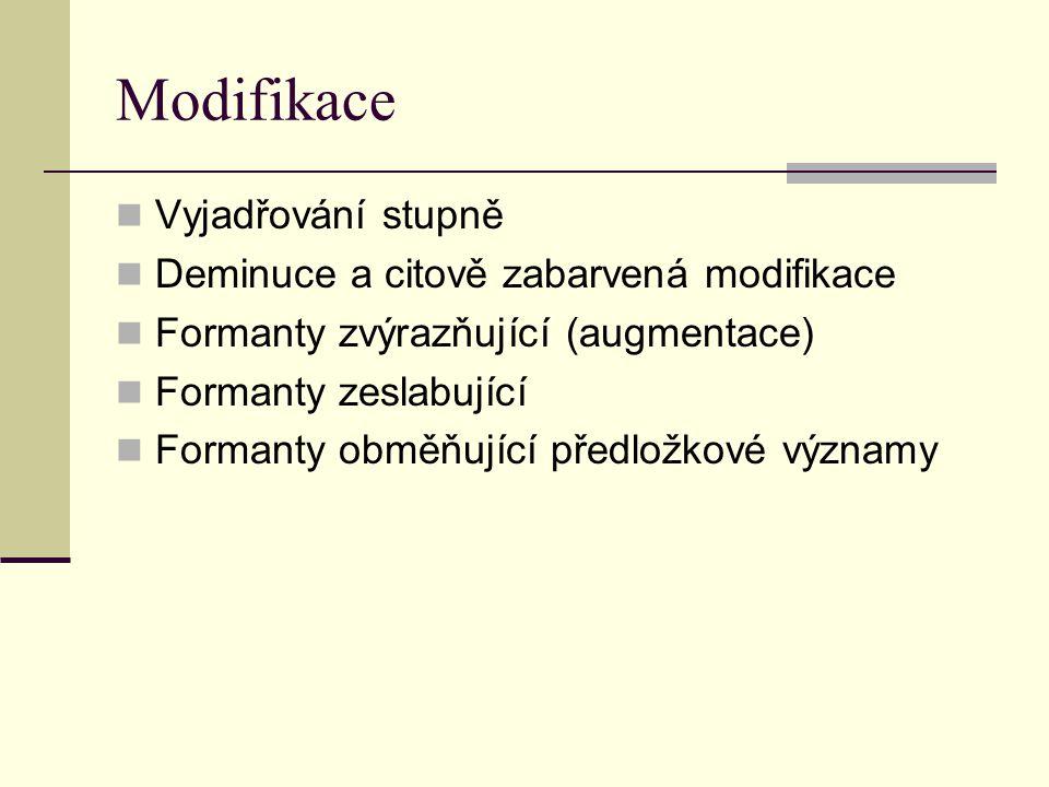Modifikace Vyjadřování stupně Deminuce a citově zabarvená modifikace