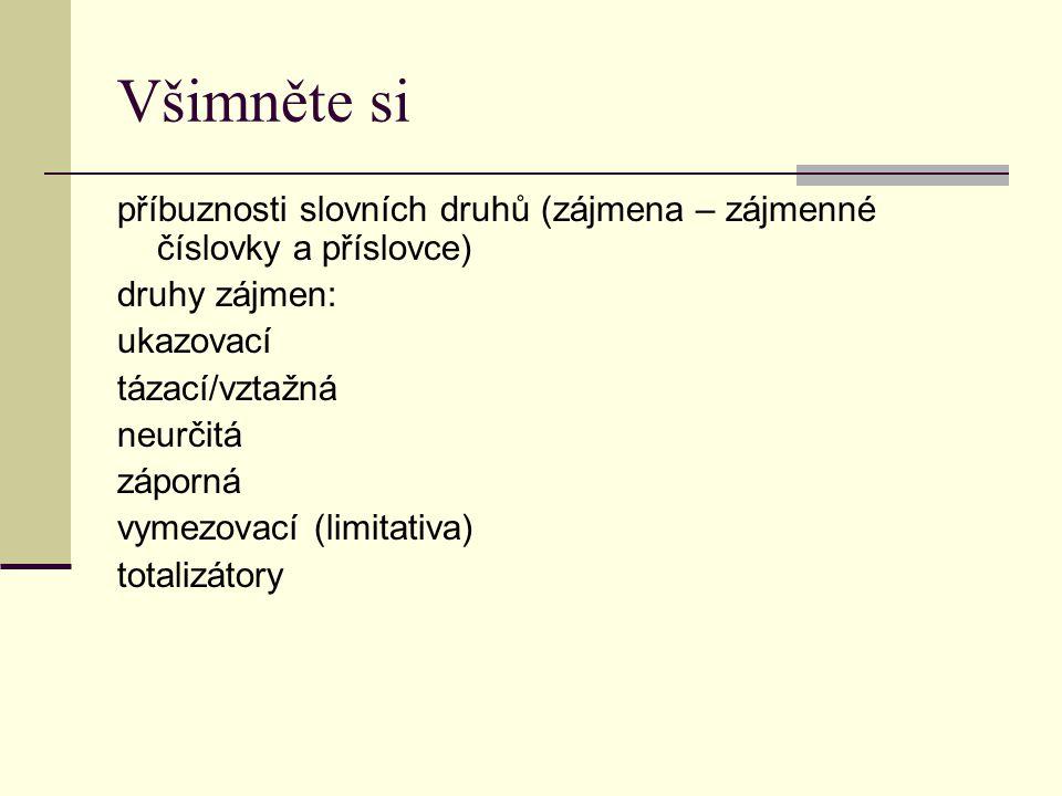 Všimněte si příbuznosti slovních druhů (zájmena – zájmenné číslovky a příslovce) druhy zájmen: ukazovací.