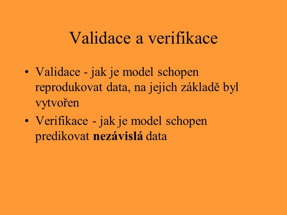 Validace a verifikace Validace - jak je model schopen reprodukovat data, na jejich základě byl vytvořen.