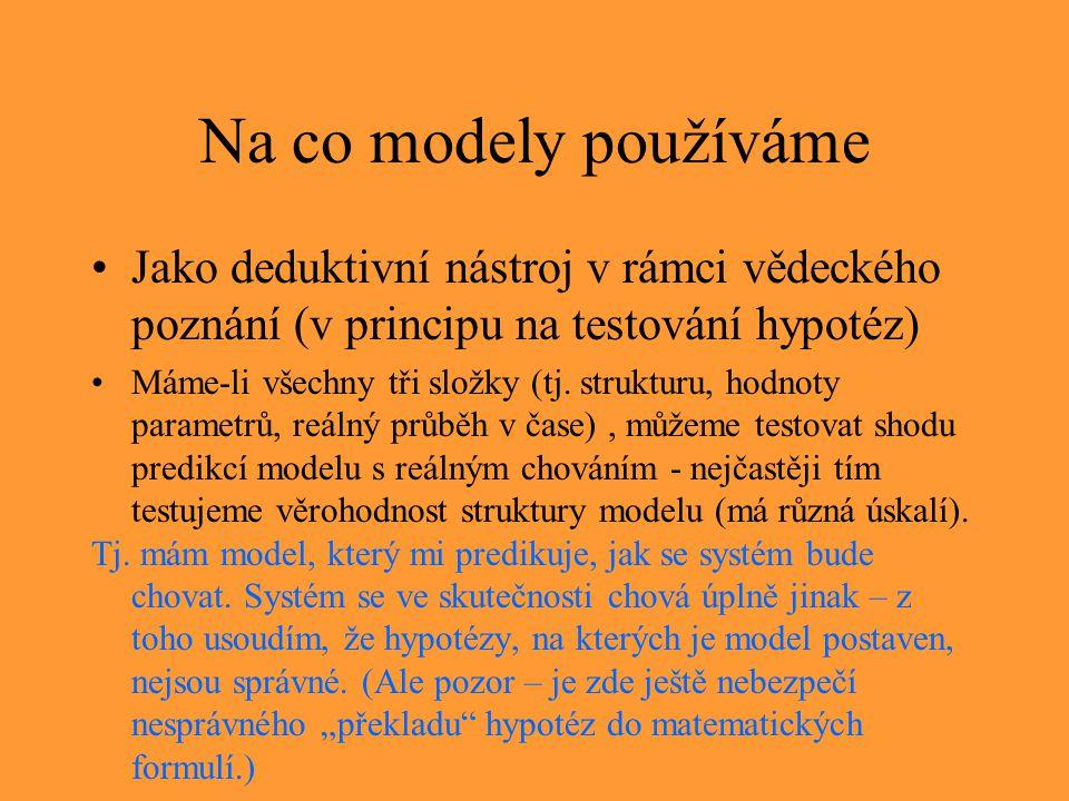 Na co modely používáme Jako deduktivní nástroj v rámci vědeckého poznání (v principu na testování hypotéz)