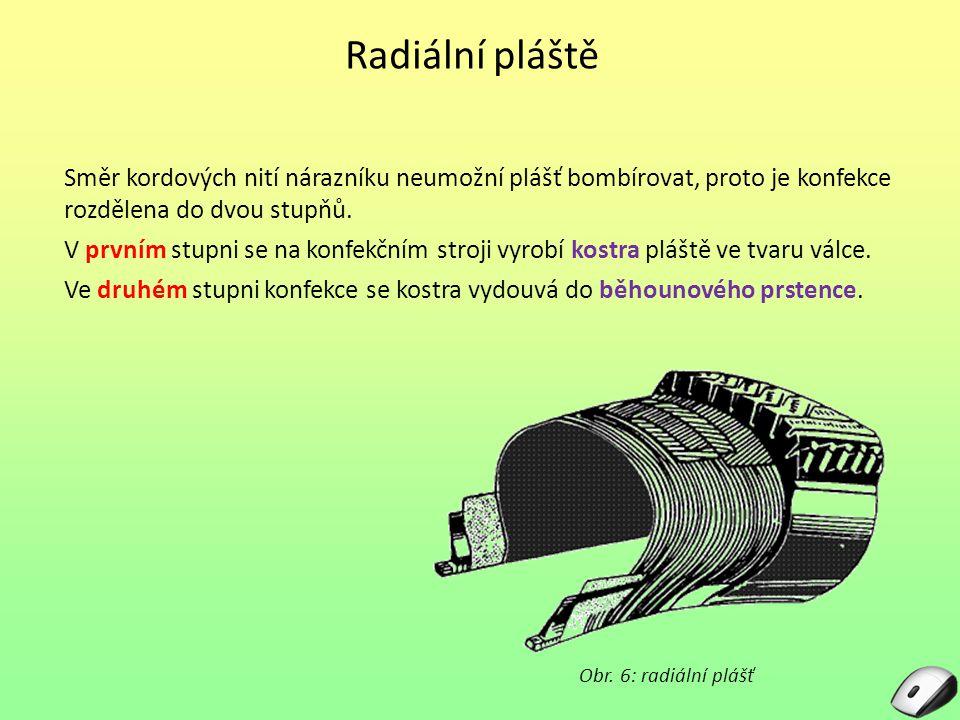 Radiální pláště Směr kordových nití nárazníku neumožní plášť bombírovat, proto je konfekce rozdělena do dvou stupňů.