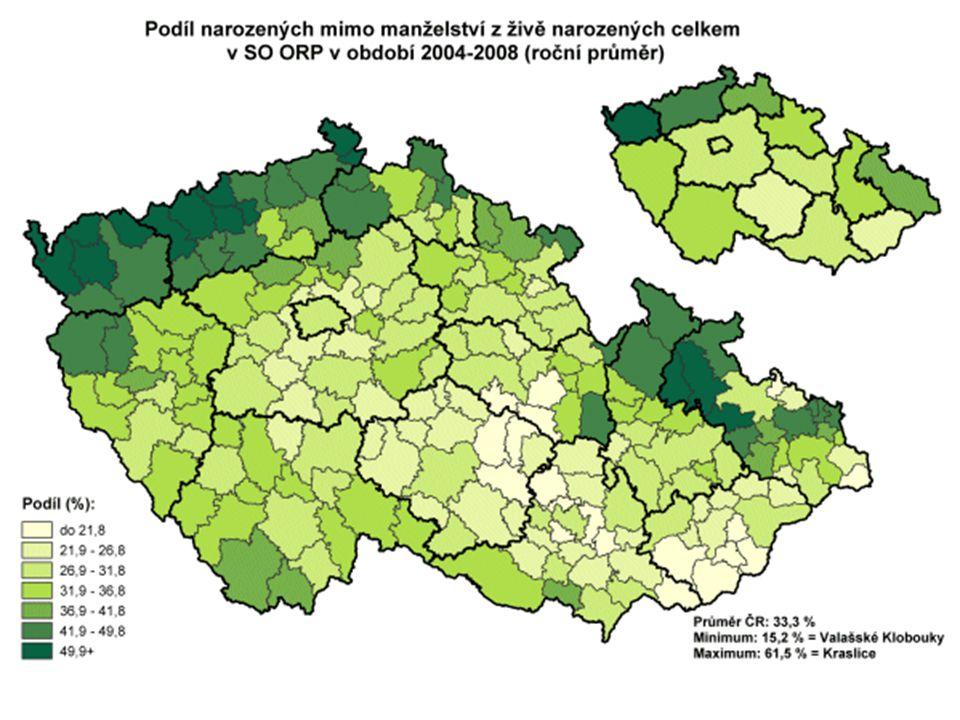 Minimum za období: okres Uherské Hradiště 11,6 % Maximum za období: okres Most 53,1 % Minimum za rok: