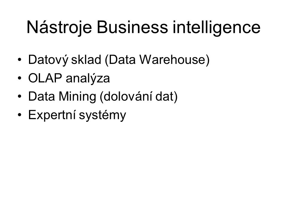 Nástroje Business intelligence