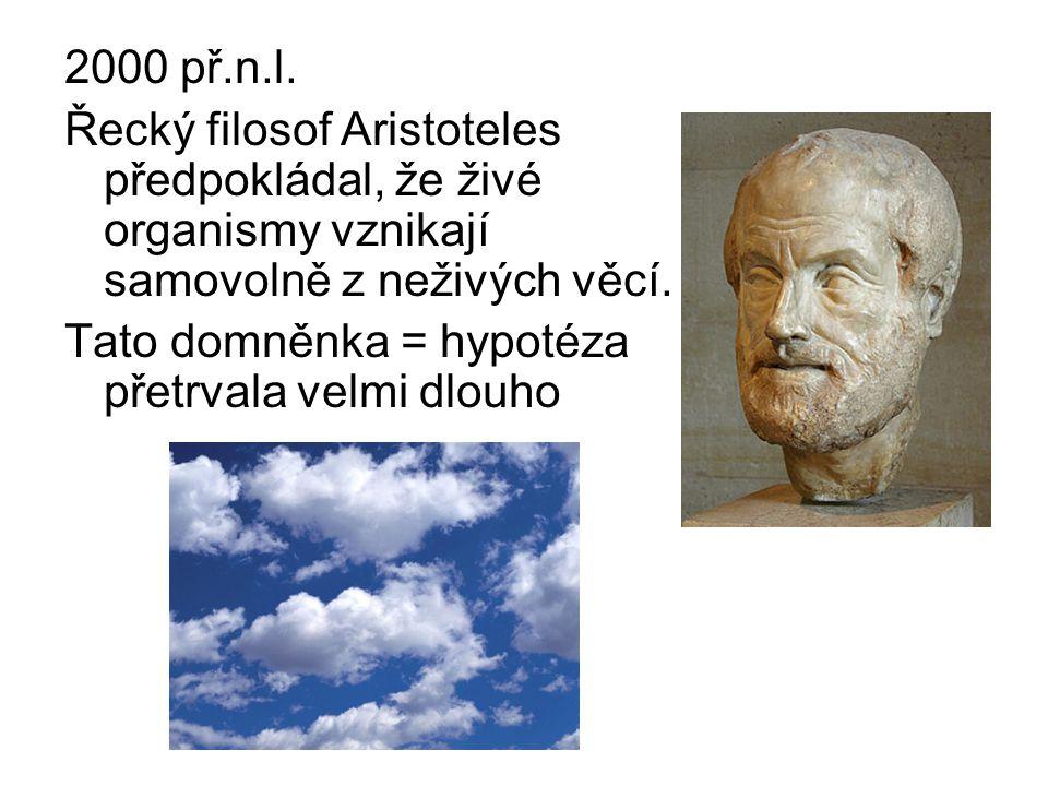 2000 př.n.l. Řecký filosof Aristoteles předpokládal, že živé organismy vznikají samovolně z neživých věcí.