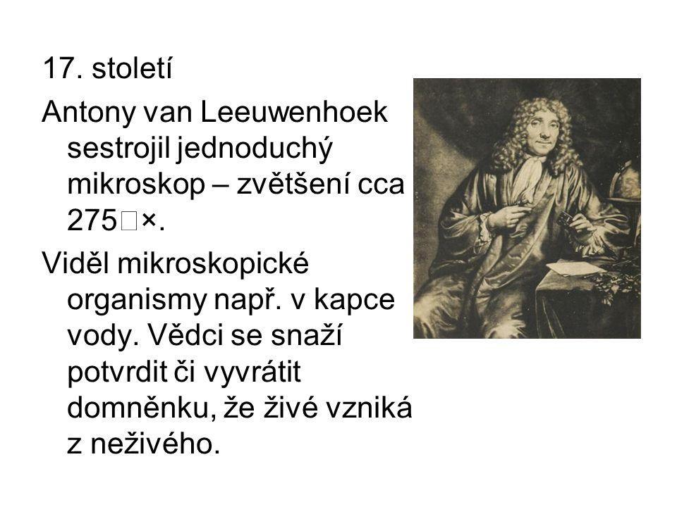 17. století Antony van Leeuwenhoek sestrojil jednoduchý mikroskop – zvětšení cca 275˜×.