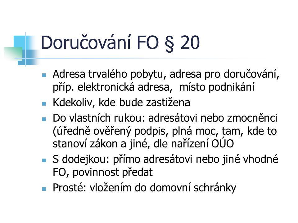 Doručování FO § 20 Adresa trvalého pobytu, adresa pro doručování, příp. elektronická adresa, místo podnikání.