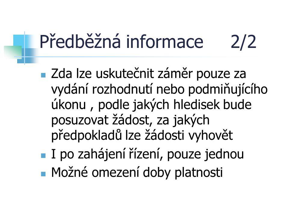 Předběžná informace 2/2