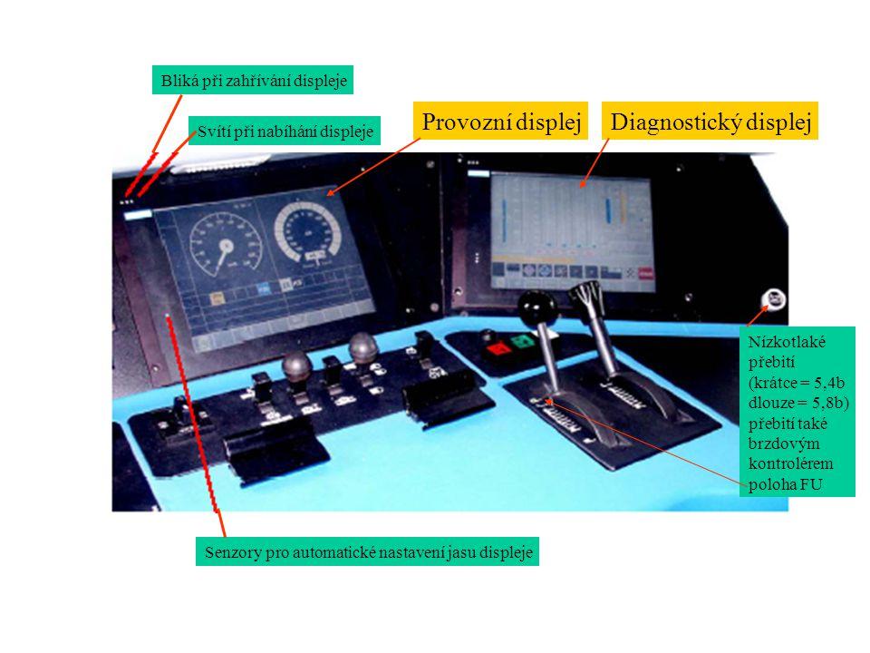 Provozní displej Diagnostický displej Bliká při zahřívání displeje