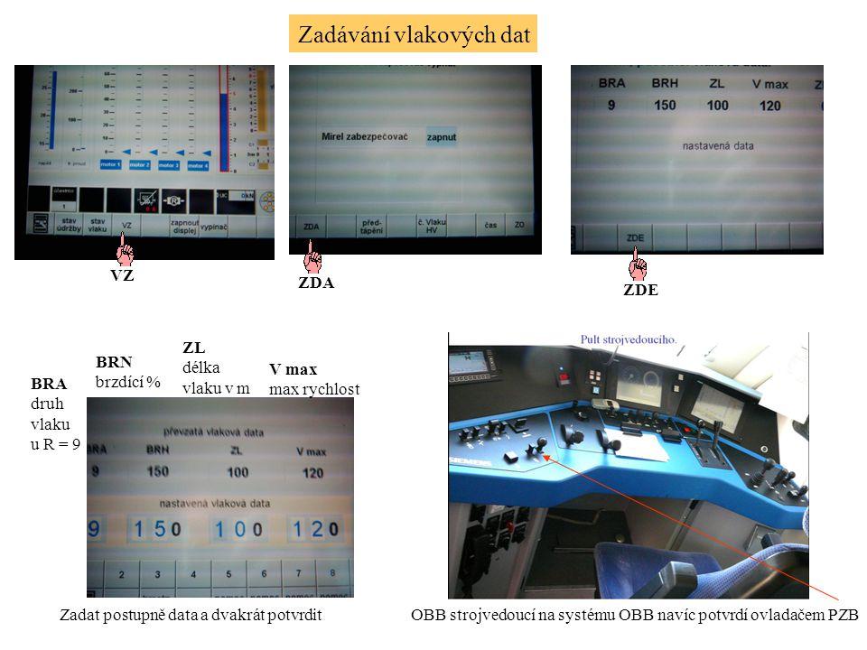 Zadávání vlakových dat