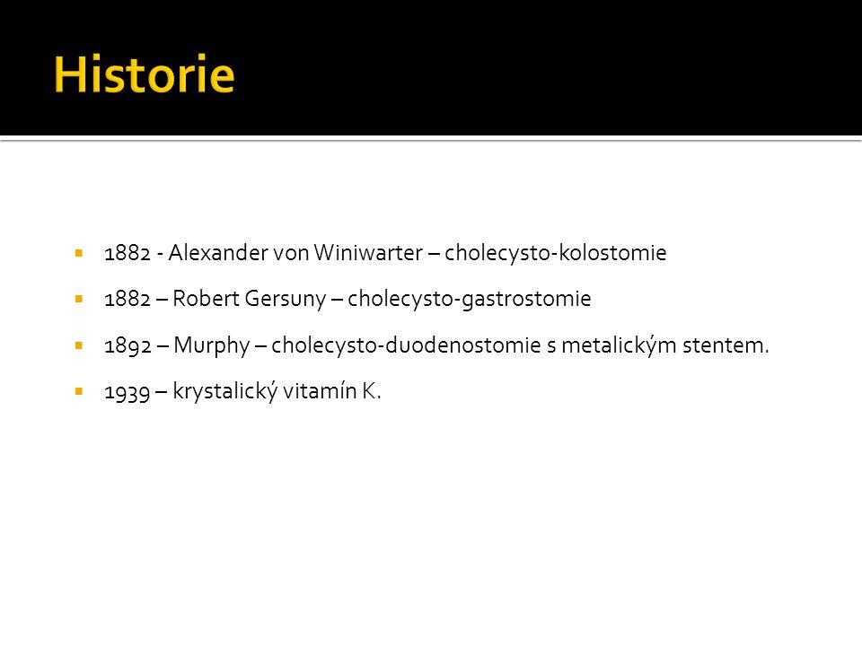Historie 1882 - Alexander von Winiwarter – cholecysto-kolostomie