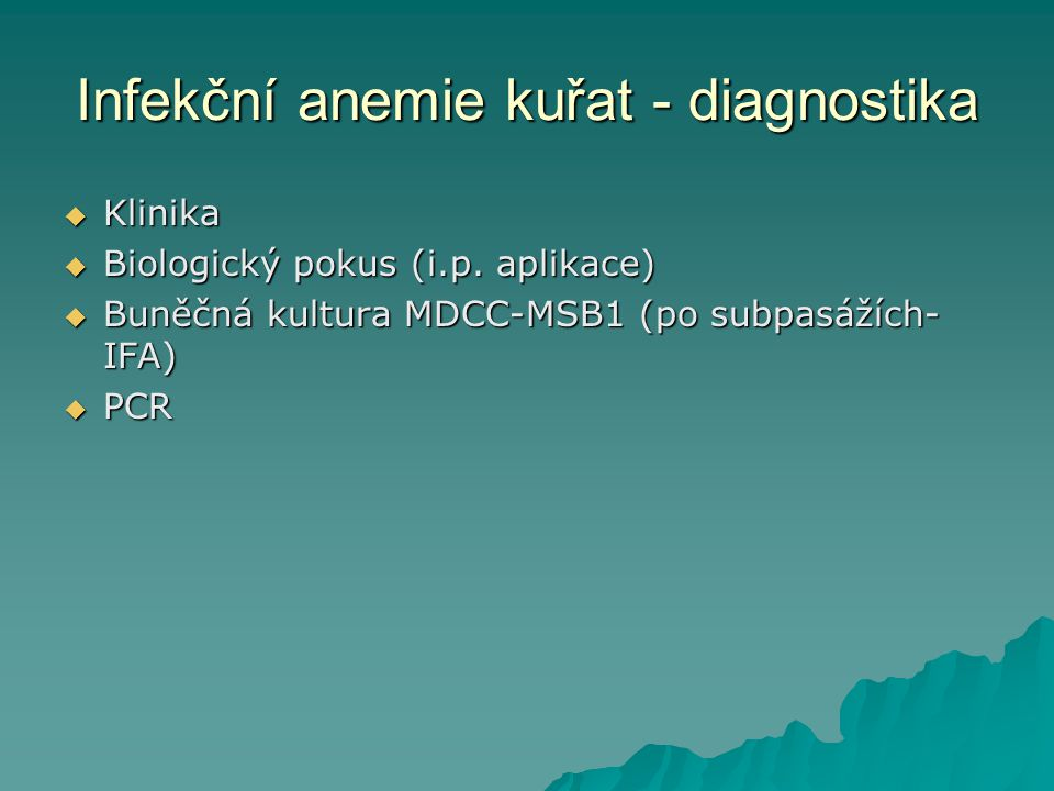 Infekční anemie kuřat - diagnostika