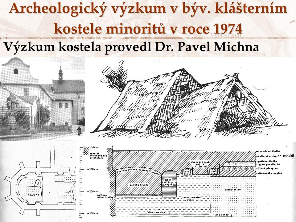 Archeologický výzkum v býv. klášterním kostele minoritů v roce 1974