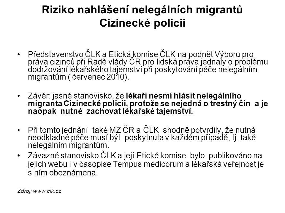 Riziko nahlášení nelegálních migrantů Cizinecké policii