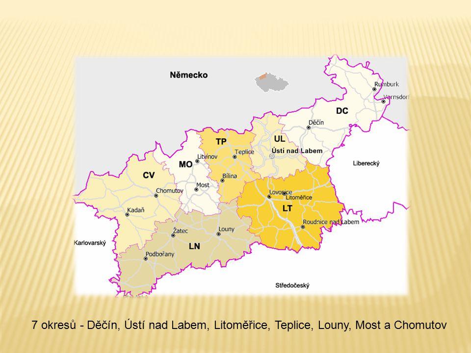 7 okresů - Děčín, Ústí nad Labem, Litoměřice, Teplice, Louny, Most a Chomutov
