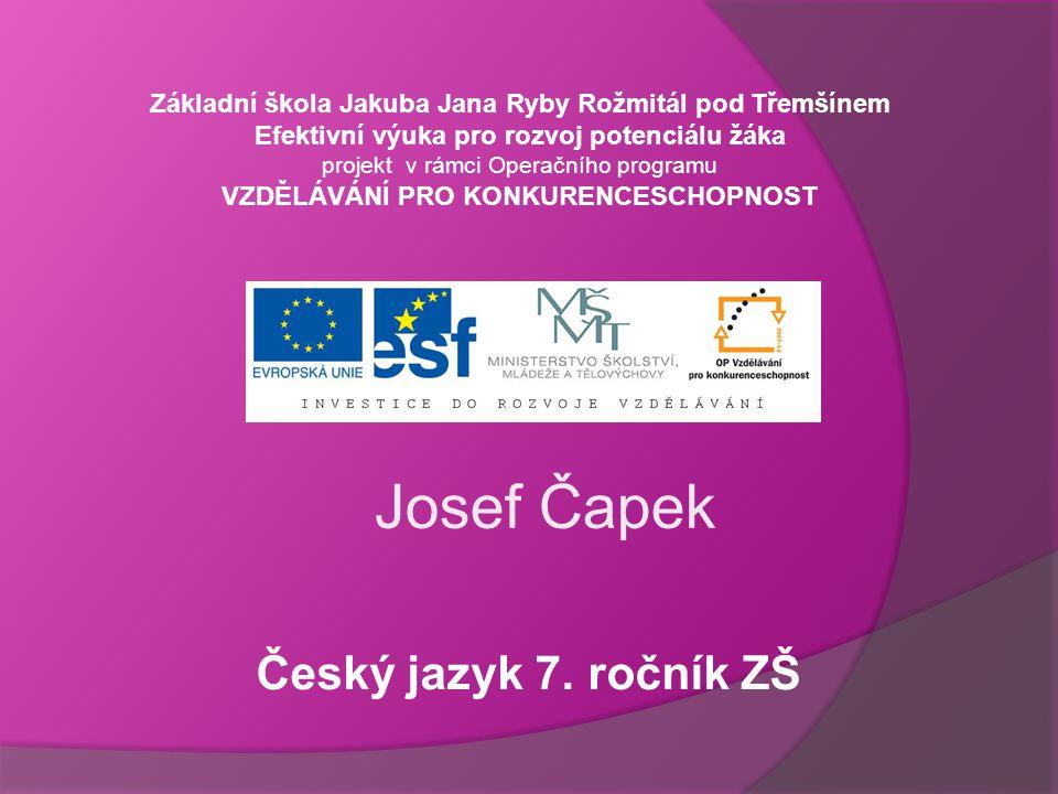 Josef Čapek Český jazyk 7. ročník ZŠ