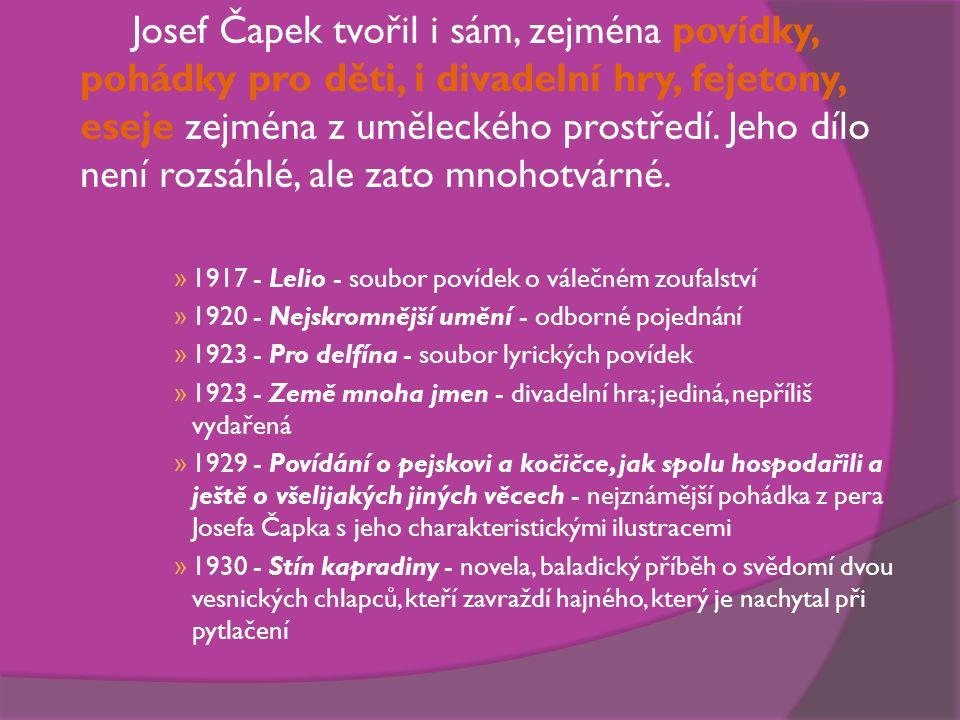 Josef Čapek tvořil i sám, zejména povídky, pohádky pro děti, i divadelní hry, fejetony, eseje zejména z uměleckého prostředí. Jeho dílo není rozsáhlé, ale zato mnohotvárné.