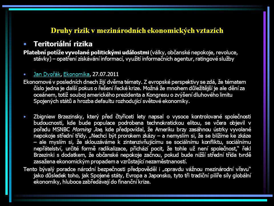 Druhy rizik v mezinárodních ekonomických vztazích