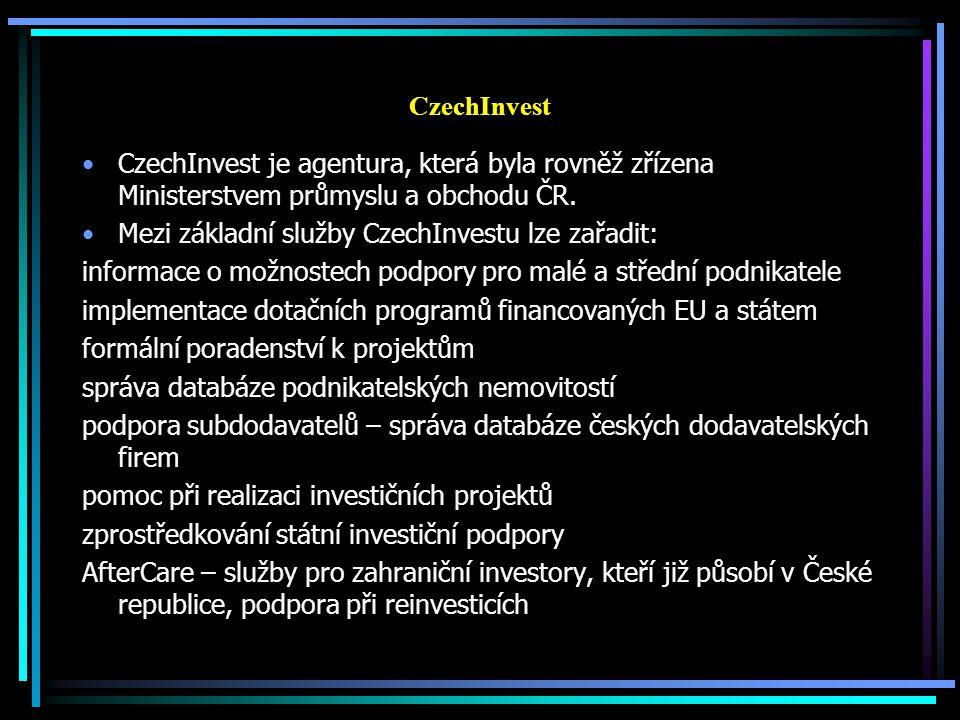 CzechInvest CzechInvest je agentura, která byla rovněž zřízena Ministerstvem průmyslu a obchodu ČR.