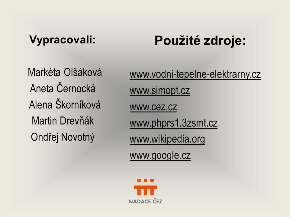 Použité zdroje: Vypracovali: www.vodni-tepelne-elektrarny.cz