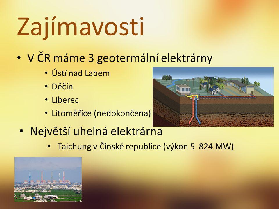Zajímavosti V ČR máme 3 geotermální elektrárny