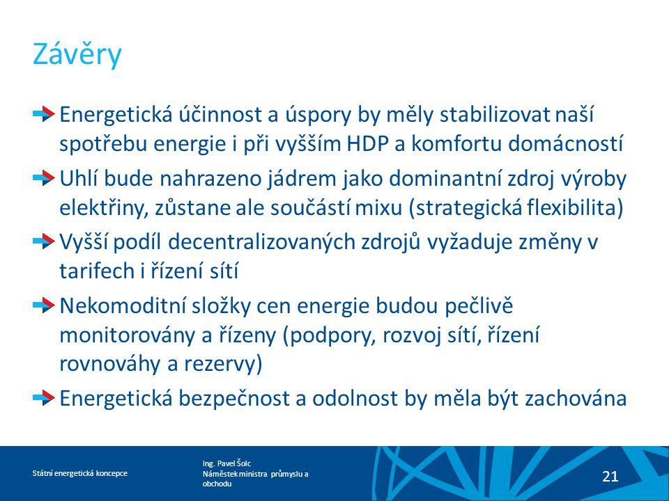 Závěry Energetická účinnost a úspory by měly stabilizovat naší spotřebu energie i při vyšším HDP a komfortu domácností.