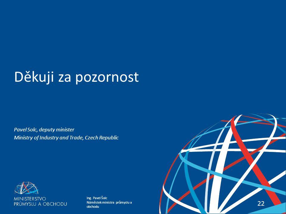 Děkuji za pozornost Pavel Solc, deputy minister