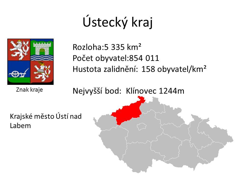 Ústecký kraj Rozloha:5 335 km² Počet obyvatel:854 011