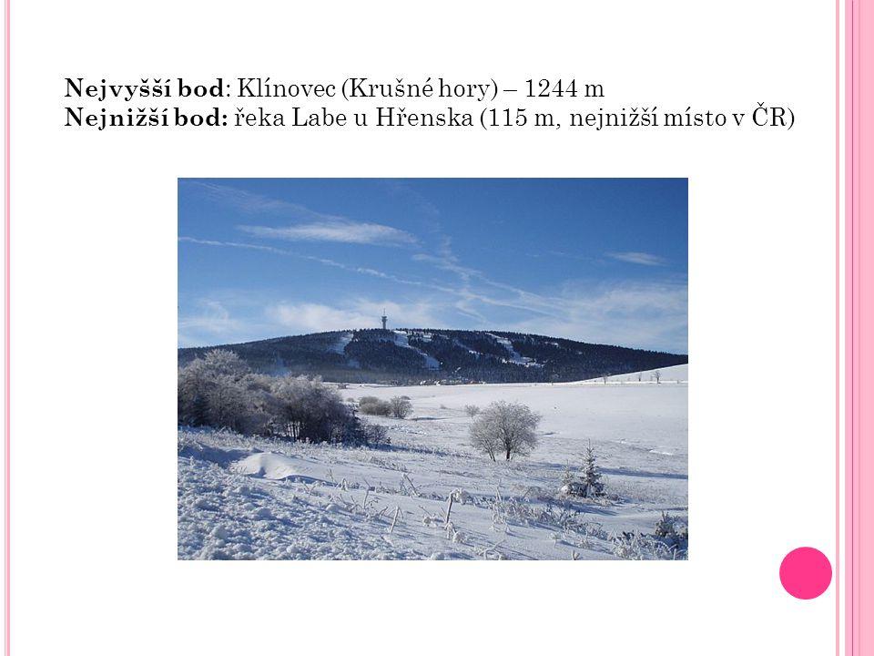 Nejvyšší bod: Klínovec (Krušné hory) – 1244 m
