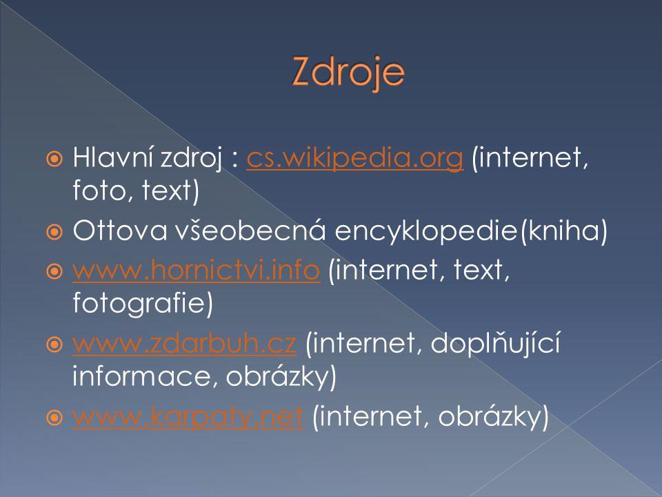Zdroje Hlavní zdroj : cs.wikipedia.org (internet, foto, text)