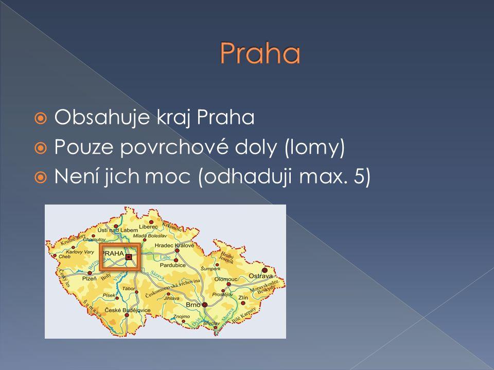Praha Obsahuje kraj Praha Pouze povrchové doly (lomy)