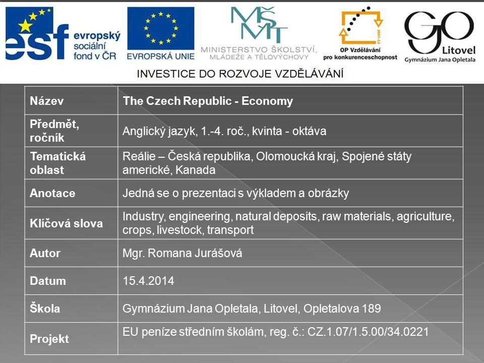 Název The Czech Republic - Economy. Předmět, ročník. Anglický jazyk, 1.-4. roč., kvinta - oktáva.