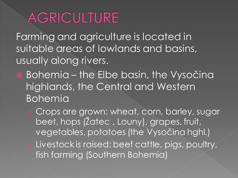 AGRICULTURE Farming and agriculture is located in suitable areas of lowlands and basins, usually along rivers.